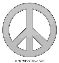 vektor, tegn, fred, /, sølv