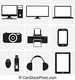 vektor, television, gadgets., og, disse, grafik, icons(symbols), notesbog, laptop, gadgets, simplistic, anden, sort, digitale, illustrationer, kamera, hvid, elektroniske