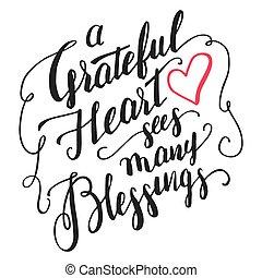 velsignelser, calligraphy, hjerte, taknemmelige, det ser, mange