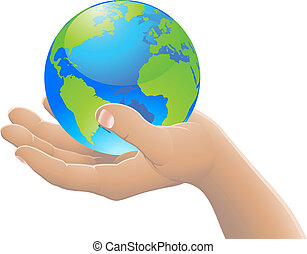verden, begreb, din, hånd
