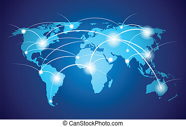 verden, globalt netværk, kort