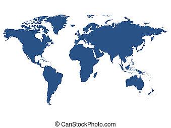 verden, isoleret, kort