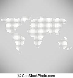 verden kort, abstrakt, prikket
