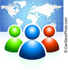 verden kort, baggrund, gruppe, bruger