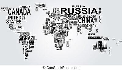 verden kort, navn, land