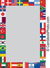 verden, ramme, flag, iconerne