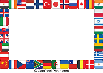 verden, ramme, lavede, flag, iconerne