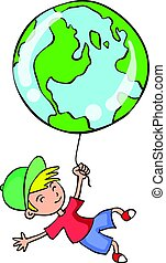 verden, samling, barn