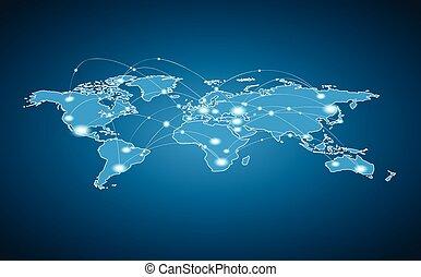 verden, sammenhænge, globale, -, kort