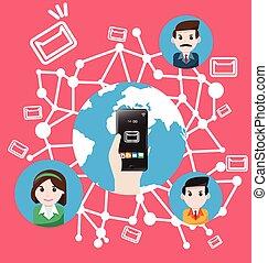 verden, smartphone, befordre, markedsfør email