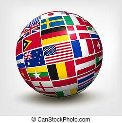 verden, vektor, flag, globe., illustration.