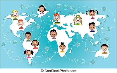 verdensomspændende, børn, forbundet