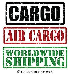 verdensomspændende, last, last, forsendelse, luft, frimærker