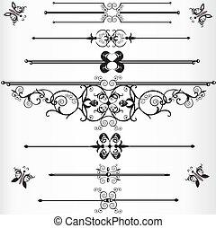 victoriansk, linjer, eller, regel, underlines