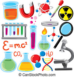 videnskab, sæt, materiale