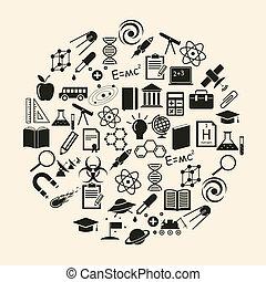 videnskab, vektor, ikon