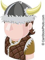 viking, folk, avatar, ikon
