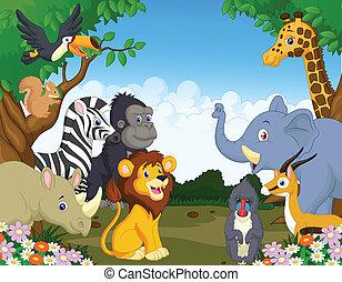vild, cartoon, dyr