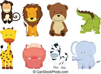 vild, cartoons, dyr