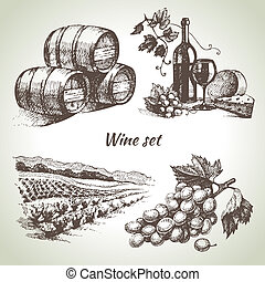 vin, sæt, vektor, hånd, stram