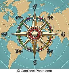 vind, rose, retro, illustration, kompas