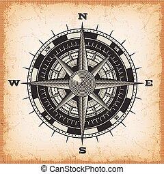 vind, rose, vinhøst, baggrund, kompas