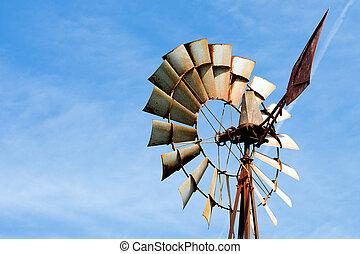 vindmølle farm, rustne, gamle, landlige