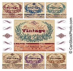 vinhøst, etiketter, sæt, (vector)