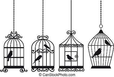 vinhøst, fugle, birdcages