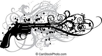 vinhøst, geværet, vektor