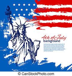 vinhøst, hånd, amerikaner, 4, konstruktion, baggrund, flag., stram, juli, dag, uafhængighed