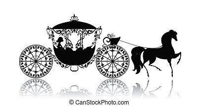 vinhøst, hest, silhuet, carriage