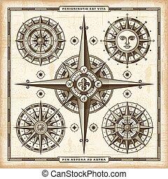 vinhøst, kompas, sæt, roser