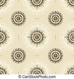 vinhøst, kompas, seamless, mønster