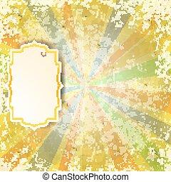 vinhøst, label., baggrund, stråler, abstrakt, vektor, illustration