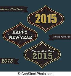 vinhøst, neon underskriv, planke, år, nye