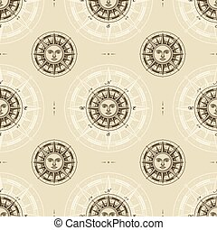vinhøst, rose, kompas, seamless, sol, mønster