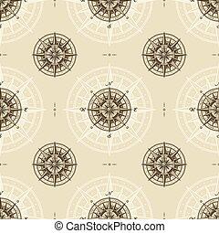 vinhøst, rose, nautiske, seamless, kompas, mønster