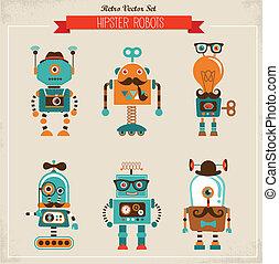 vinhøst, sæt, hipster, robot, iconerne