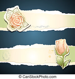 vinhøst, vektor, banner, rose