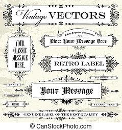 vinhøst, vektor, sæt, etikette