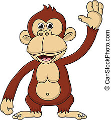 vink, cartoon, chimpanse, hånd