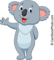 vink, cute, koala, cartoon, hånd