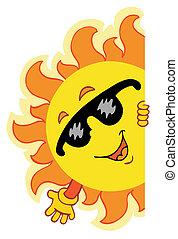 vink, sol, cartoon
