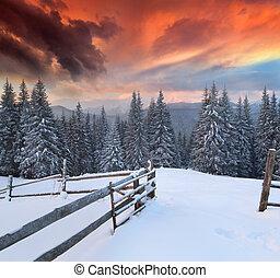 vinter, farverig, dramatiske, landskab, bjerge., solopgang