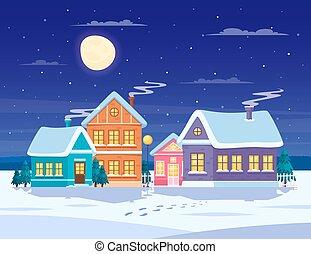 vinter landskab, komposition