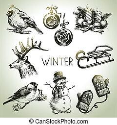 vinter, sæt, jul, hånd, stram