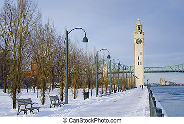 vinter, stueur, park, sne, tårn, flod, montreal