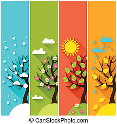 vinter, vertikal, forår, træer., efterår, bannere, sommer
