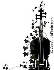 violin, slutning, vedbend